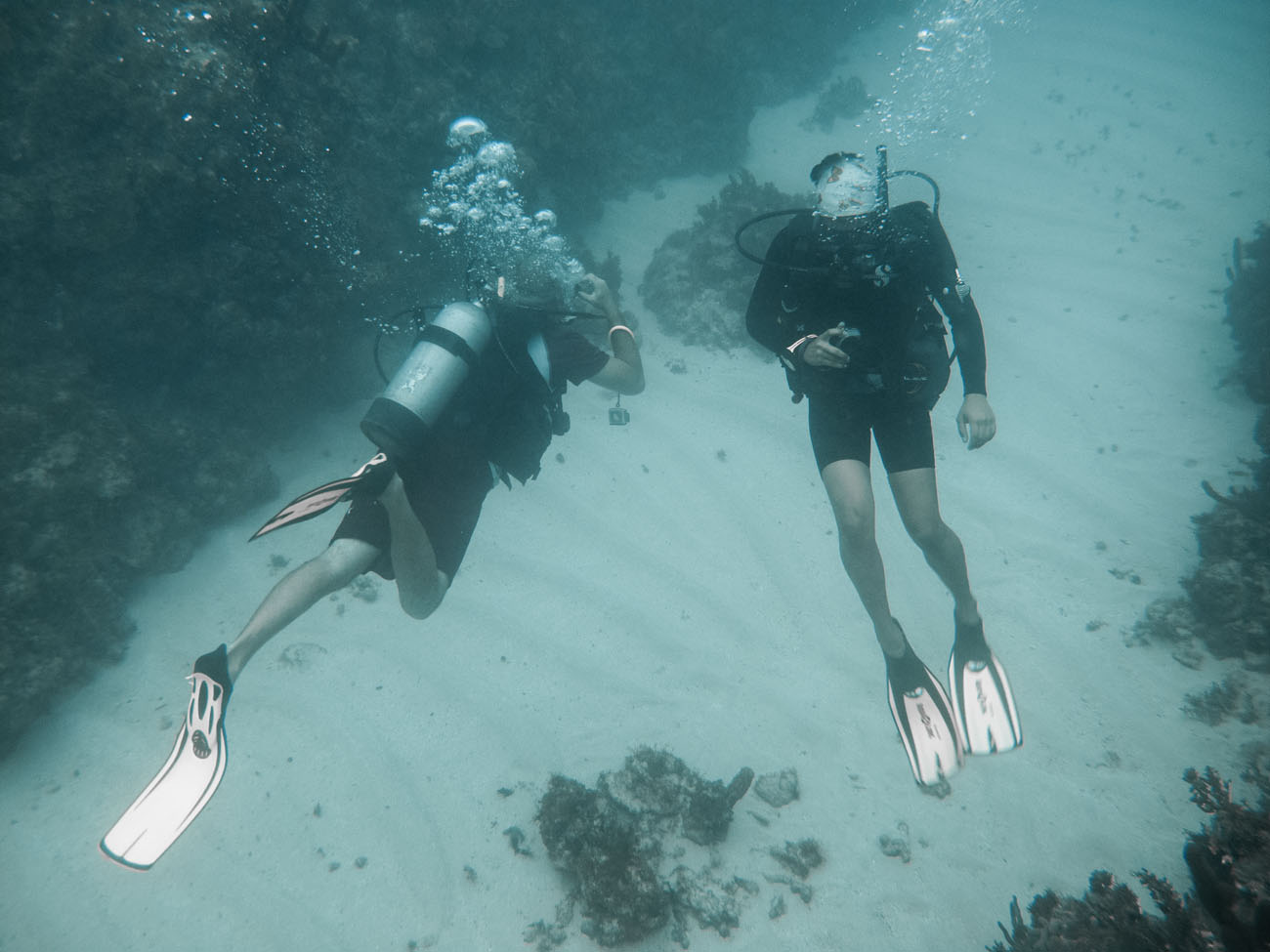 Dive master with blind diver